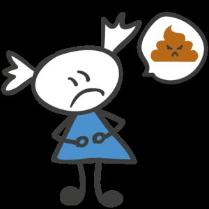 Bild: Comic eines Mädchens mit Sprechblase. In der Sprechblase befindet sich ein böse schauenden Kothäufchen.