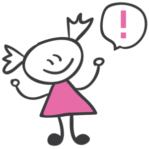 Bild: Comic eines Mädchens mit Sprechblase. In der Sprechblase befindet sich ein Rufzeichen. Achtung!
