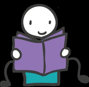 Bild: Grafik eines Jungen, der am Topf sitzt und ein Buch liest.